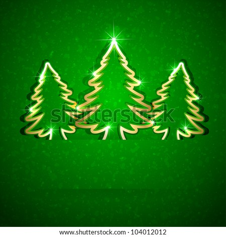 Gold paper Christmas trees on green grunge background, illustration. - stock vector