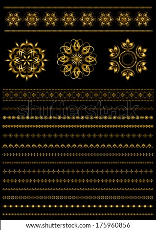Gold patterns and collection gold patterned border