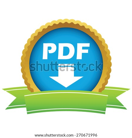 Gold pdf download logo on a white background. Vector illustration