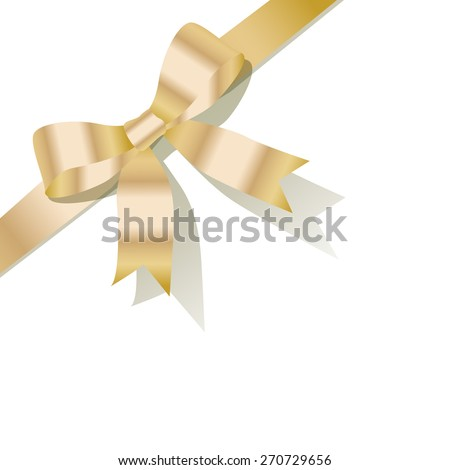 Gold pearl ribbon on the white background