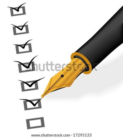Gold pen checking - stock vector