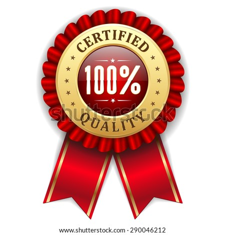 Gold 100 percent certified quality badge with red ribbon - stock vector