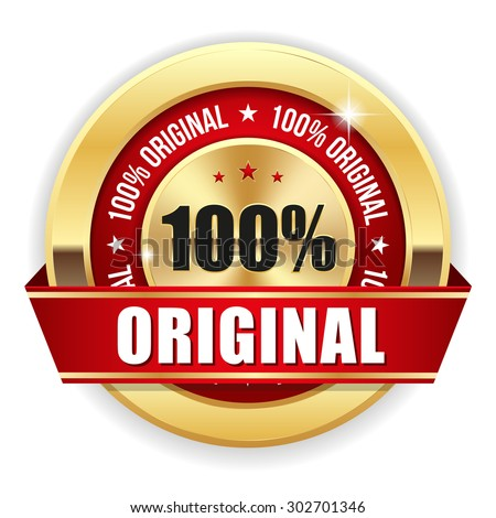 Gold 100 percent original badge with red ribbon on white background - stock vector