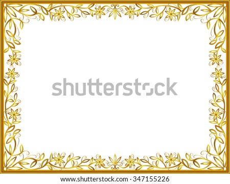 gold photo frame floral vector for picture, flower line art design - stock vector