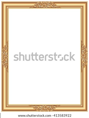 Gold photo frame with corner line floral for picture, Vector border design decoration pattern style. Thai art golden metal beautiful corner.