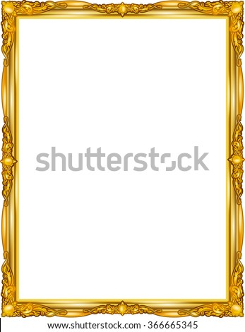 Gold Photo Frame With Corner Thailand Line Floral For Picture Vector Design Decoration Pattern Style