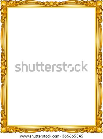 Gold Photo Frame Corner Thailand Line Stock Vector 366665345