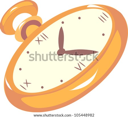 gold pocket watch on a white background - stock vector