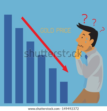 Gold price drop concept - stock vector