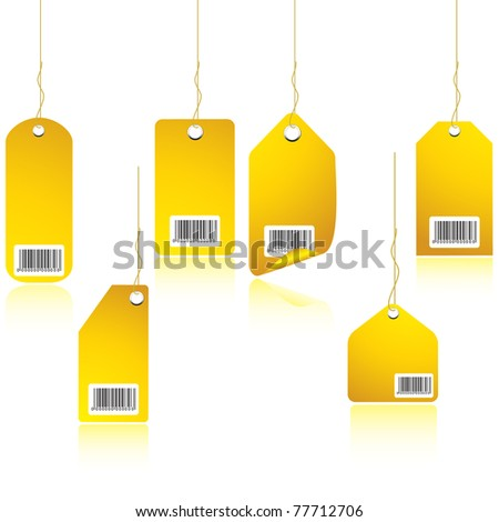 Gold price tag with reflection - stock vector