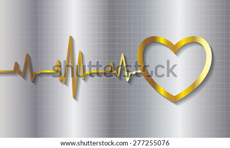 gold pulse heart glossy web icon on dark silver background. Light Abstract Technology background for computer graphic website and internet.  - stock vector