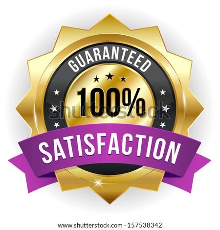 Gold purple hundred percent satisfaction badge - stock vector