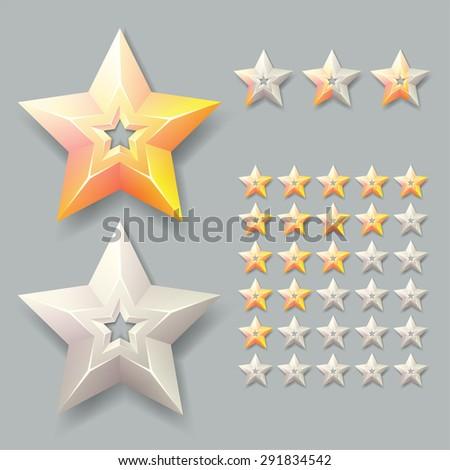 gold rating stars, vector illustration - stock vector
