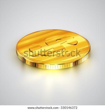 Gold realistic coin (Dollar), vector - stock vector