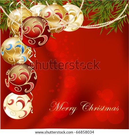 gold, red end white Christmas ball on new year tree, vector illustration