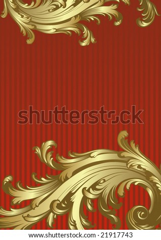 Gold-red floral vector background