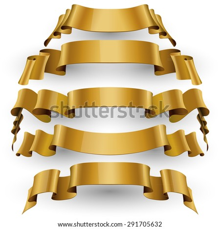 Gold Red Glossy vector ribbons set vector - stock vector