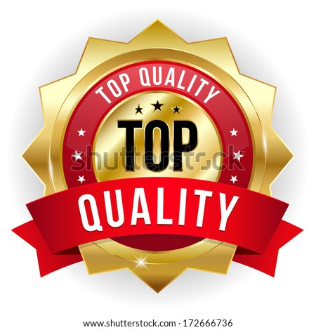 Gold red top quality badge with ribbon - stock vector