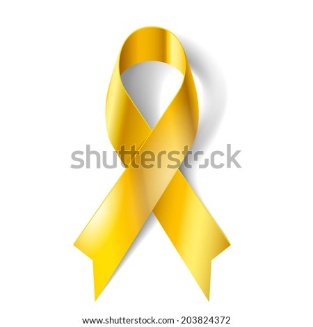 Gold ribbon as symbol of childhood cancer awareness - stock vector