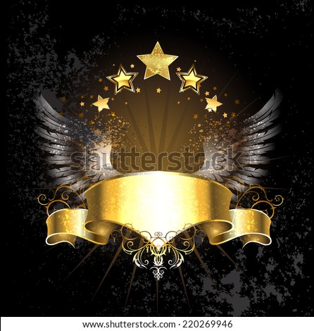 gold ribbon decoration angel wings and gold stars on a black background. - stock vector