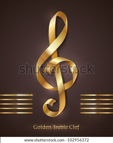 Gold ribbon in the shape of treble clef - vector illustration - stock vector
