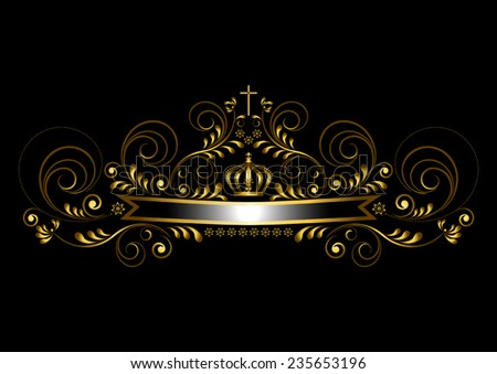 Gold ribbon with a crown and a cross on a black background  - stock vector