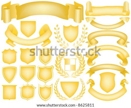 Gold Ribbons, Banners, Laurels and Shields. Mix and Match to create your own logo - stock vector