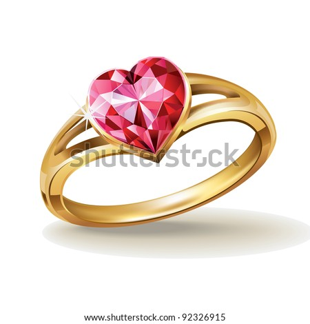 Gold ring with pink heart gemstone. Vector illustration. - stock vector