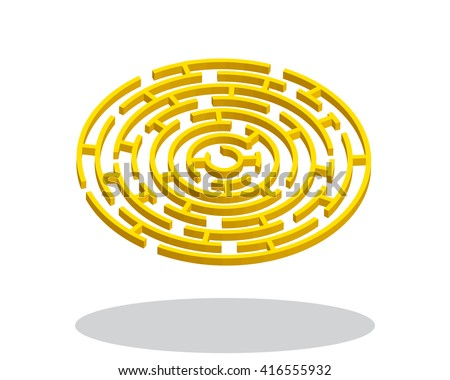 Gold round 3d labyrinth on white background, vector - stock vector