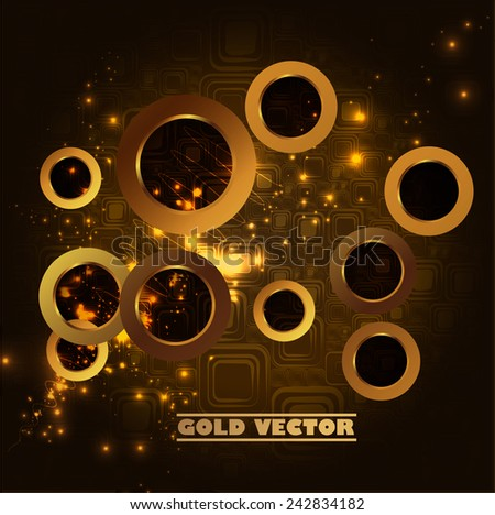 Gold round on the dark background, vector - stock vector