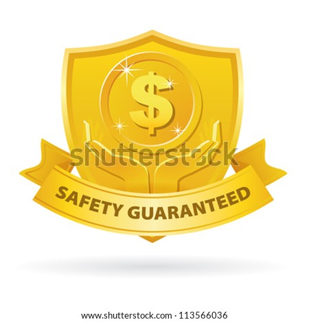 Gold Safety Guaranteed money label icon with ribbon - stock vector