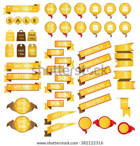 Gold sale bag tag icons and discount symbols vector