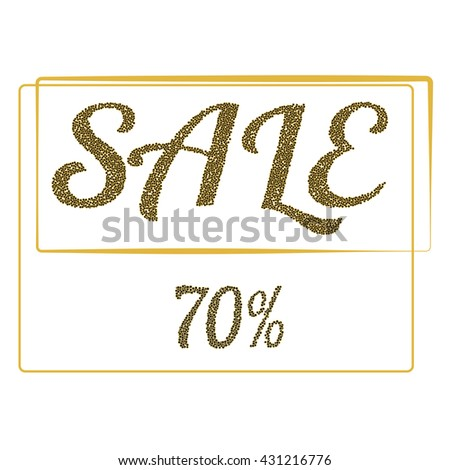 Gold sale for  poster, shopping, for sale sign, discount, marketing, selling, banner, web, header. - stock vector