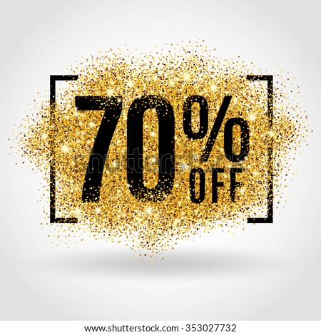 Gold sale 70% percent on gold background. Gold sale background for flyer, poster, shopping, for sale sign, discount, marketing, selling, banner, web, header. Gold blur background - stock vector