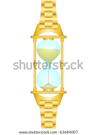 Gold sand watch with link bracelet (humorous picture) - stock vector