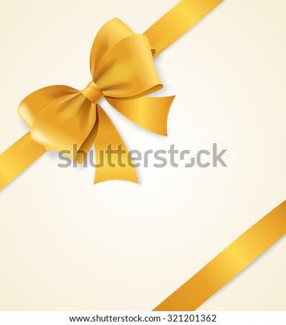 Gold Satin Ribbon. Luxury Design Element. Vector illustration - stock vector