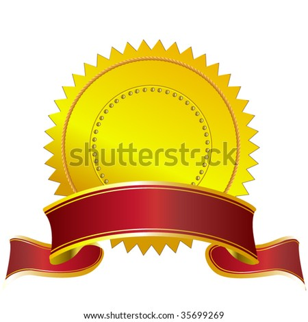 Gold seal with red banner -add your text - stock vector