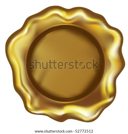 Gold sealing wax with space for text. - stock vector