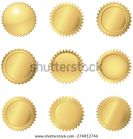 Gold Seals - Set of 9 different gold seals.  Each seal is grouped separately for easy editing.  Colors are just a few global swatches, so they can be modified easily.   - stock vector