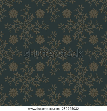 Gold seamless pattern on dark green background with floral elements. Design for wallpaper and textile. Editable vector file. - stock vector
