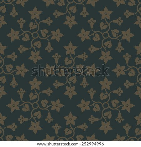 Gold seamless pattern on deep green background with floral elements. Design for wallpaper and textile. Editable vector file. - stock vector