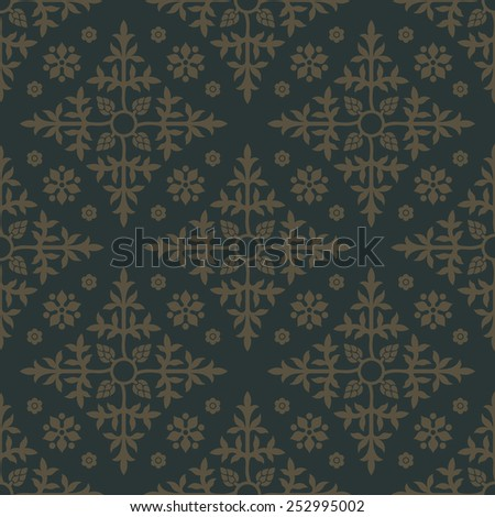 Gold seamless pattern with floral elements. Background for wallpaper and textile. Editable vector file. - stock vector