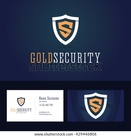 Gold security logo and business card template. Shield sign in line, flat style with overlapping effect. Vector illustration. - stock vector