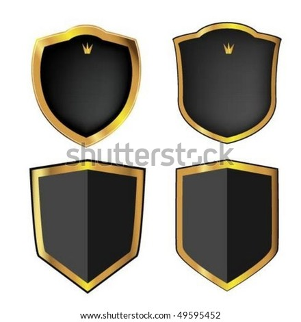 Gold shield - stock vector