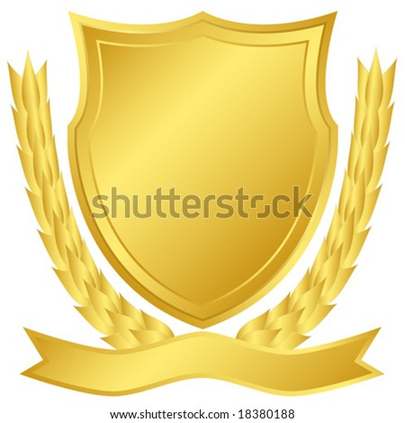 Gold shield and laurel wreath - stock vector