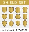 Gold shield set - stock vector