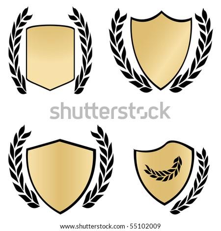 Gold shields and black laurels. Vector illustration - stock vector
