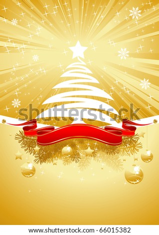 gold shining christmas card with christmas tree and red banner - stock vector