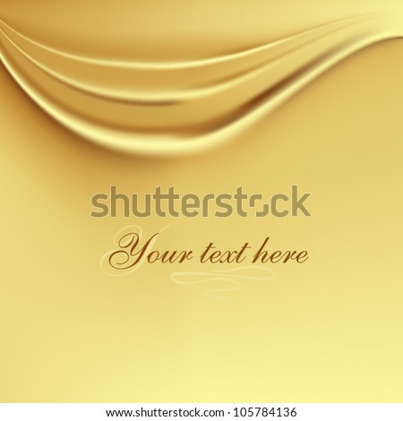 Gold silk wave background - stock vector