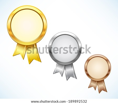 Gold, silver and bronze award - stock vector